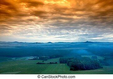 Morning prospects - morning awakening landscape with hills ...