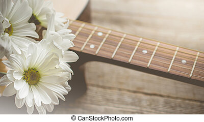 Morning relaxation and cozy with white daisy on guitar for Rural vacation lifestyle , music therapy concept