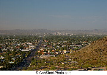 Morning Road to Uptown of Phoenix, Arizona. View from North...