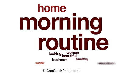 Morning routine animated word cloud.