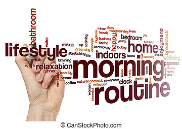 Morning routine word cloud