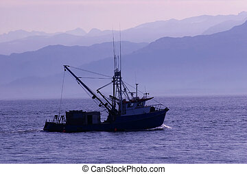 Morning Run in Frigid Alaskan Dawn - Small craft heads out...