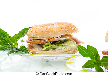 morning sandwich with bacon, cheese and herbs