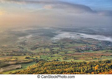 Morning scenery - fog in valley - View from Kalnik mountain...