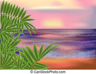 Morning sea background, vector illustration