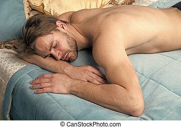 morning., sen, łóżko, posiadanie, sleep., on, słodki, wymagania, home., time., głęboki, rano, stracony, spanie, człowiek, więcej, przystojny, jego, sexy, tak, bedroom.