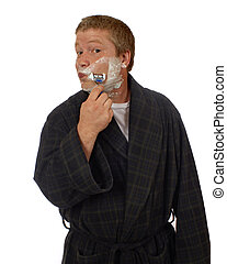 Morning Shave - The view a man sees in the mirror during his...
