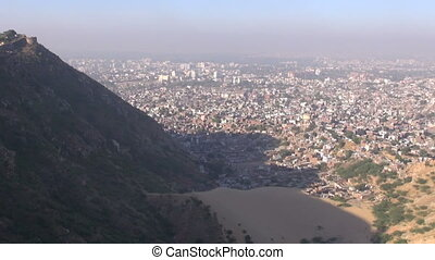 morning smog in Jaipur red city - morning smog and view to...