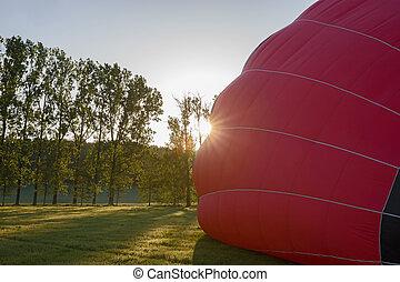 Morning start of a Hot air balloons