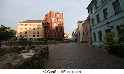 Morning street in medieval town