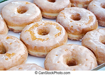 Morning Sugar Rush - Fresh iced donuts in box.