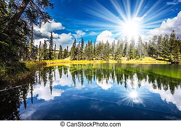 Morning sun is reflected in smooth water of the lake