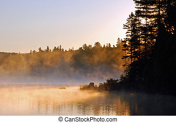 Morning - Sunrise and mist in beautiful lake in Algonquin ...