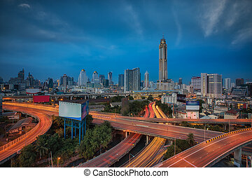 Morning sunrise in Bangkok city