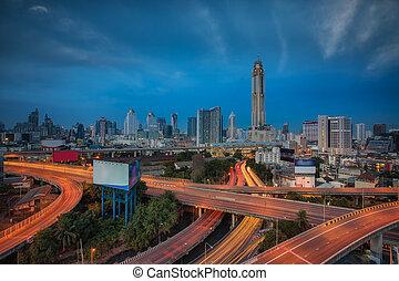 Morning sunrise in Bangkok city