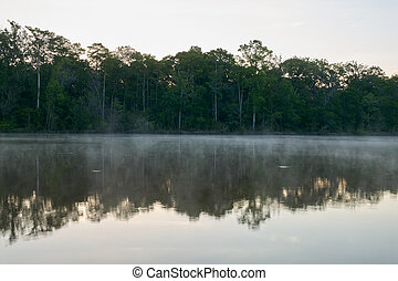 Morning sunrise mist on the Altamaha River