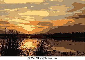 Morning Sunrise - morning sunrise over Laos at left side of...