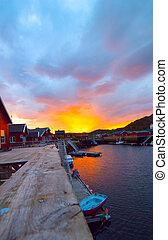 Morning sunrise on the Norwegian island Skrova