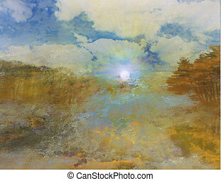 Sunrise over landscape