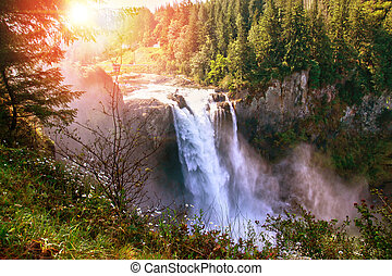 Morning Sunrise Over Snoqualmie Falls in Washington State