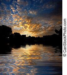 Morning sunrise reflected water