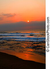 morning sunrise - beautiful sunrise on indian ocean with red...