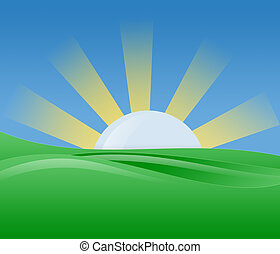 Morning sun with bright light shine with blue sky green landscape.