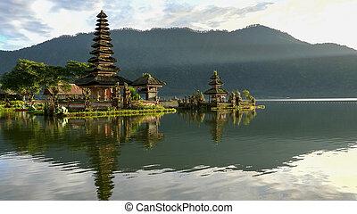 morning sunshine on pura danu bratan temple in bali, ...