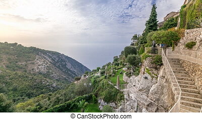 Morning timelapse view of the town of Eze village on the...
