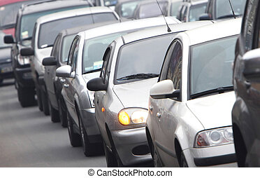 Morning traffic jam on a road in Kiev