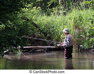 morning trout fishing - trout fisherman in early morning sun...