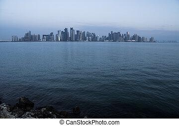 Morning Twilight Doha Skyline View. Qatar, Middle East