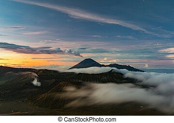 Morning view in Bromo Tengger Semeru. Active volcano
