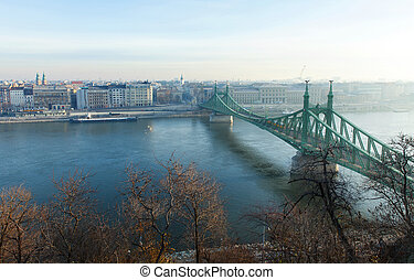 Morning view in Budapest from Gellert Hill