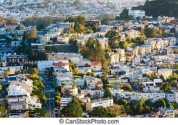 Morning view of streets and buildings from Twin Peaks, in San Francisco, California.