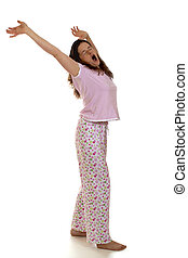 Morning Wakeup Stretch - A woman yawning and stretching in ...