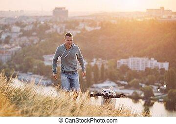 Morning walk with dog
