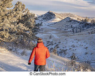 morning winter walk at Colorado foothills of Rocky Mountains