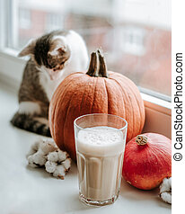 Morning with cup of coffee with pumpkin and cat sitting on the windowsill