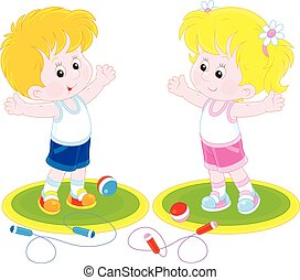 Morning work-out - Girl and boy doing morning exercises
