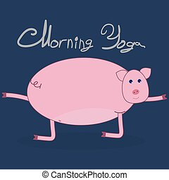 Morning yoga with a pig color