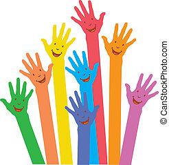 morno, coloridos, cima, mãos