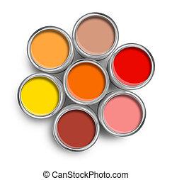 morno, cor, lata pintura, latas, topo