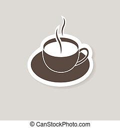 morno, xícara café, ligado, experiência marrom