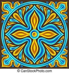 Moroccan ceramic tile pattern. Ethnic floral motifs....