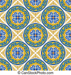 Moroccan ceramic tile seamless pattern. Ethnic floral...