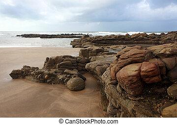 Moroccan coast in Dar Bouazza, Morocco