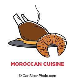 Moroccan cuisine food vector icon - Moroccan cuisine food...
