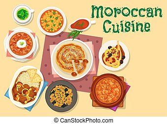 Moroccan cuisine traditional dishes icon design - Moroccan...