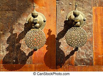 Moroccan decorated bronze door knobs, Morocco - Decorated...